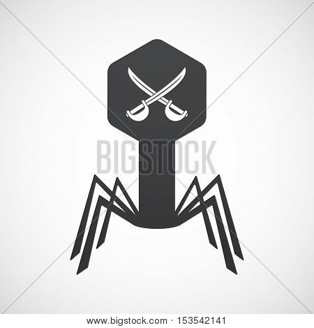 Isolated Virus Icon With  Two Swords Crossed