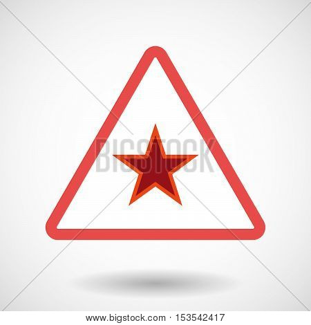 Isolated Warning Sign Icon With  The Red Star Of Communism Icon