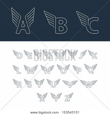 Linear design vector set of letters with wings for sport, transport and other fast services