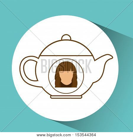 tea pot coffee hot female blue background vector illustration