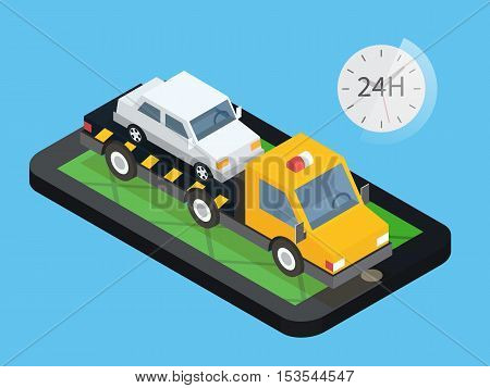 Car towing truck, online roadside assistance. Car evacuator in mobile app. Flat design illustration