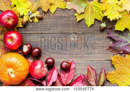 happy thanksgiving autumn background with pumpkin chestnuts apple acorns and colorful leaves on wooden board with copy space