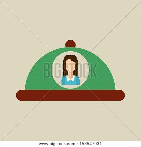 platter serving food icon woman vector illustration eps 10