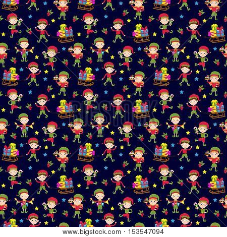 Santa Claus kids cartoon elf helpers seamless pattern vector illustration. Santa Claus elf helpers children. Santa helpers traditional costume. Santa family elfs isolated. Santa Claus elf kids