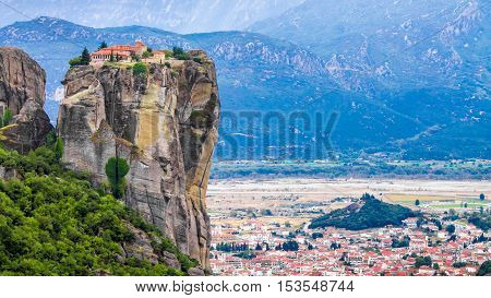 Panoramic view of a monastery in a pinnacle at Meteora one of the largest and most important complexes of Eastern Orthodox monasteries in Greece