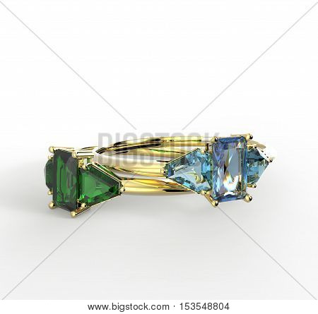 Diamond Rings on a white background. 3d digitally rendered illustration