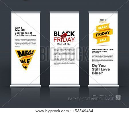 Vector set of modern roll Up Banner stand design with Black Friday sale inscription design template, marketing price tag, discount, advertising, explosion. Brochure for exhibition, fair.