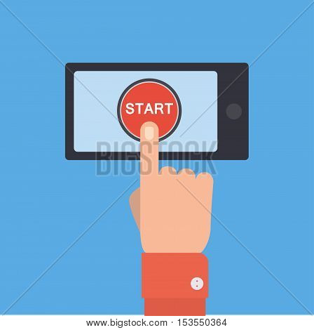 Hand pushing future and start button. Flat style. Tomorrow, new life, technology, business, beginning and start concept. EPS 10 vector illustration, no transparency