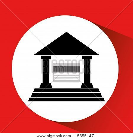 silhouette building bank card credit debit icon over red backgroun