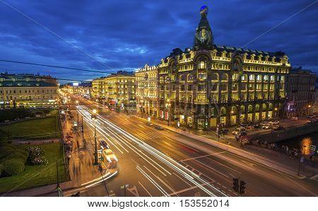 House Zinger On Nevsky Prospekt In St. Petersburg At Night Illumination In White Nights