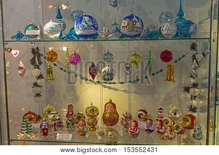KLIN RUSSIA - JANUARY 16 2016: Christmas toys in the form of matrioshka and fairy-tale characters. Museum of Christmas toys.