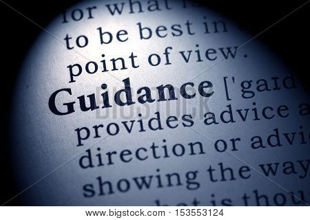 Fake Dictionary Dictionary definition of the word guidance.