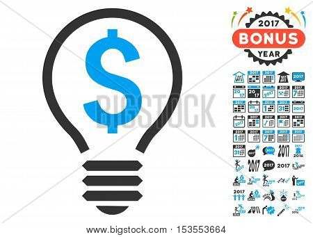 Patent Bulb pictograph with bonus 2017 new year graphic icons. Vector illustration style is flat iconic symbols, modern colors.