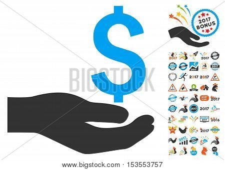 Payment pictograph with bonus 2017 new year icon set. Vector illustration style is flat iconic symbols, modern colors.