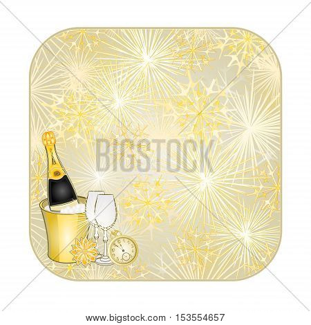 Button square New Year fireworks and midnight toast gold background vector illustration
