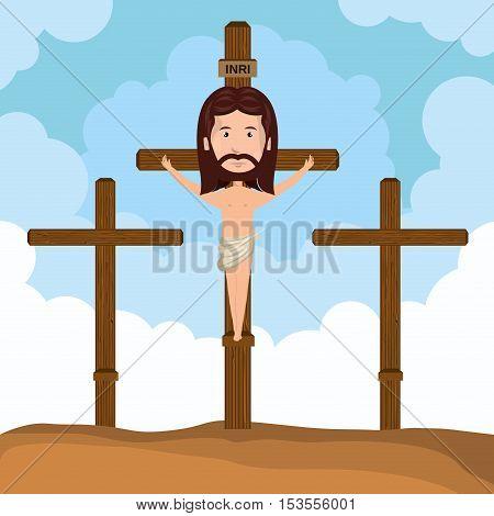 Jesus christ crucified calvary design vector illustration eps 10