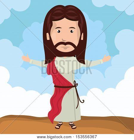 cartoon Jesus christ bless design vector illustration eps 10