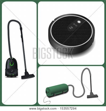 Evolution of vacuum cleaners. modern vacuum cleaner and robot vacuum cleaner