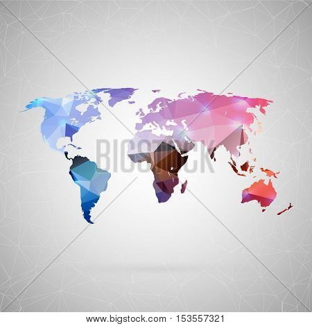 Abstract creative concept vector icon of map. For web and mobile content isolated on background, unusual template design, flat silhouette object and social media image, triangle art origami.