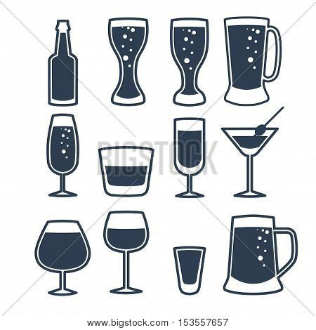 Vector illustration of drinks and beverages icons set.