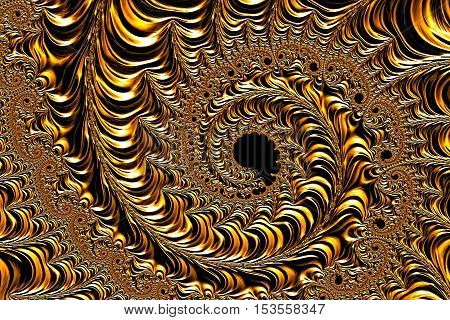 Abstract metallic background - computer-generated image. Fractal geometry: complex pattern of plurality of coils of different size as if minted on metal surface. For covers, banners, web design