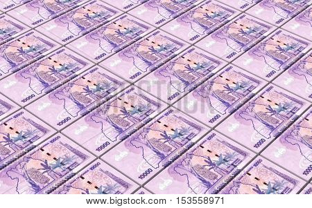 Ugandan shillings bills stacks background. 3D illustration.