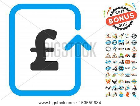 Reverse Pound Transaction pictograph with bonus 2017 new year pictograms. Vector illustration style is flat iconic symbols, modern colors.