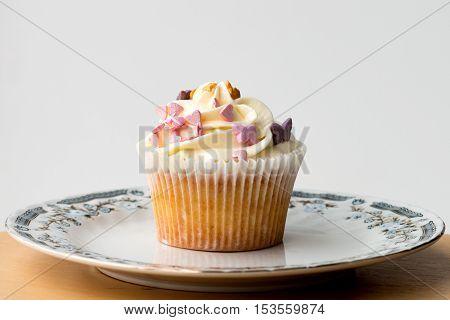 Handmade Cake With Cream, Hearts And Stars.