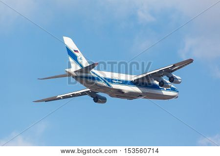 Moscow, Russia - October 31, 2015: Soviet cargo plane Antonov An-124 Ruslan company Volga-Dnepr RF-82042 takes off in the Moscow Vnukovo Airport. October 31, 2015 in Moscow