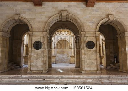 Heraklion Greece - October 12 2016: The Venetian loggia historical heritage of the Venetian era today the Municipality of Heraklion
