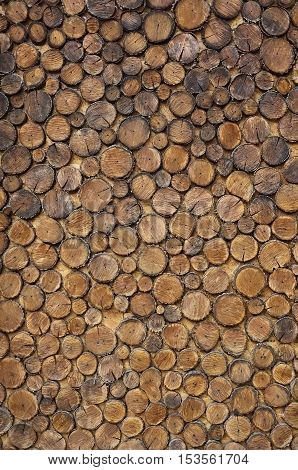 The texture of weathered wooden wall. Aged wooden hand-made fence