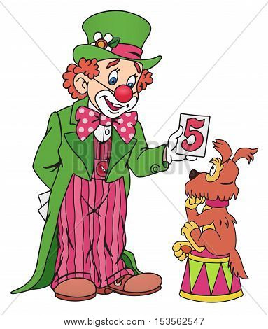 Illlustration of Funny Circus Clown with his Dog
