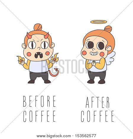 Before and after coffee girl vector illustration. Cute naive style.