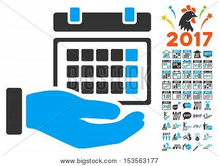 Service Timetable pictograph with bonus 2017 new year pictograms. Vector illustration style is flat iconic symbols, modern colors.