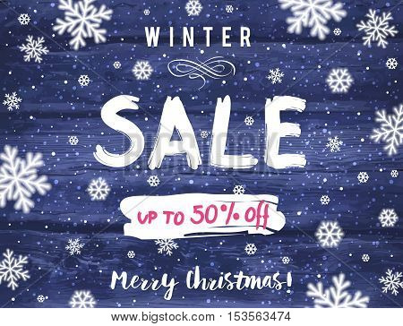 Christmas banner with snowflakes and sale offer vector illustration