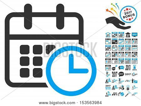 Timetable pictograph with bonus 2017 new year icon set. Vector illustration style is flat iconic symbols, modern colors.