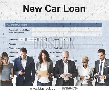 New Car Loan Insurance Policy Protection Budget Concept