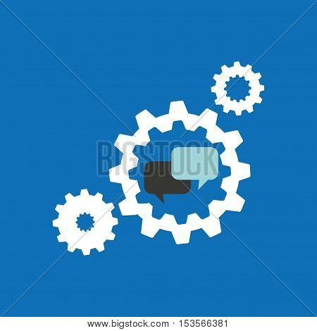 set gears with bubble speak chat icon design vector illustration