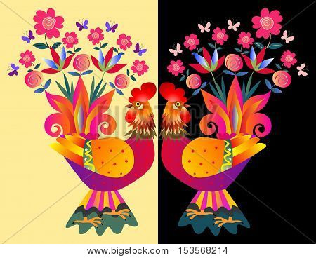 Two bright colorful cockerels - Vases with flowers. Beautiful card with chinese symbol of 2017 - Year of the rooster.