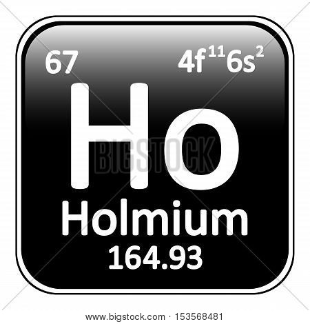 Periodic table element holmium icon on white background. Vector illustration.