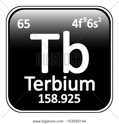 Periodic table element terbium icon on white background. Vector illustration.