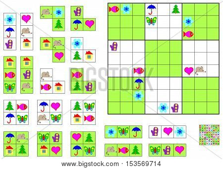Logic Sudoku game. Need to complete the puzzle using the remaining details. Vector image.