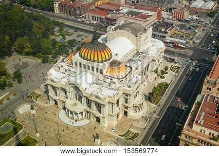Palace of Fine Arts or Palacio de Bellas Artes in Mexico City Mexico seen from the top of Torre Latinoamericana.