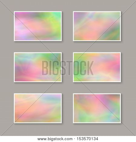 Set of Colorful Business Cards. Templates for Gift Cards / Invitations / Postcards with Realistic Holographic Effect. Abstract Universal Design Elements. Unique Iridescent Blanks. Kit of Stickers.