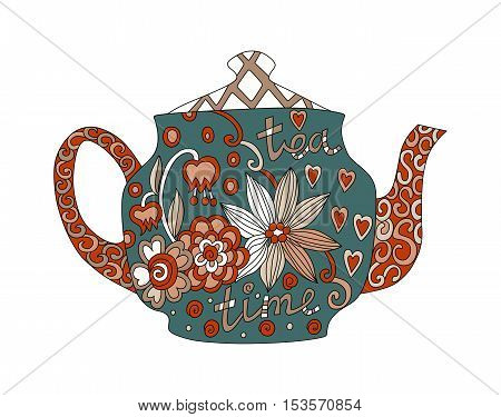 Teatime. Beautiful teapot with floral ornament isolated on white background. Vector illustration.