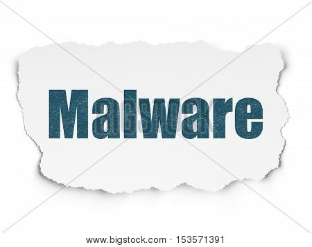 Security concept: Painted blue text Malware on Torn Paper background with  Tag Cloud