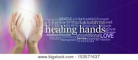 Healing Hands Word Cloud - female hands reaching up with bright white shaft of light between on a pink and blue background with a HEALING HANDS word cloud on right