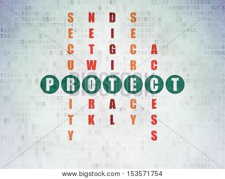 Protection concept: Painted green word Protect in solving Crossword Puzzle on Digital Data Paper background