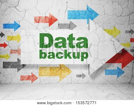 Information concept:  arrow with Data Backup on grunge textured concrete wall background, 3D rendering