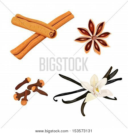 Set of spices. vanilla flower and pods, cloves, star anise, cinnamon, vector isolated objects on white background. 100 organic. For menu, spa salon, aromatherapy, perfume isolated